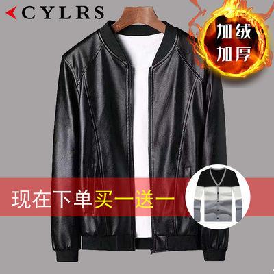 CYLRS品牌秋冬款皮衣男时尚修身款加棉pu皮夹克潮流帅气休闲外套