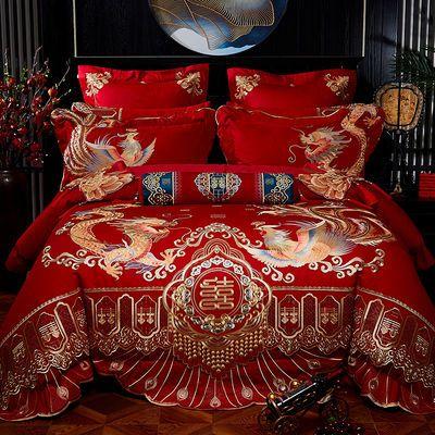 婚庆100支长绒棉大红四件套中式刺绣结婚六八十件套婚庆床上用品