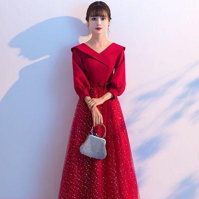 敬酒服新娘礼服裙长款酒红色中长袖秋冬平时可穿显瘦结婚晚礼服女