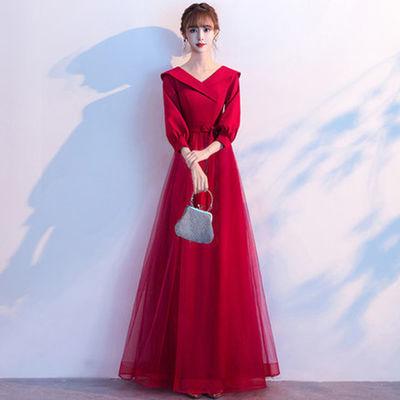 76701/敬酒服新娘2021新款春夏酒红色显瘦平时可穿结婚晚礼服裙女回门服