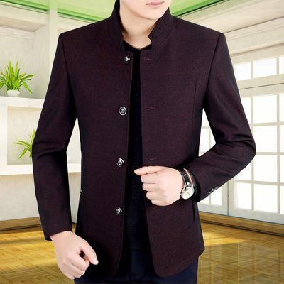 中年男士外套春秋款立领夹克衫爸爸装中老年男装春季上衣商务休闲