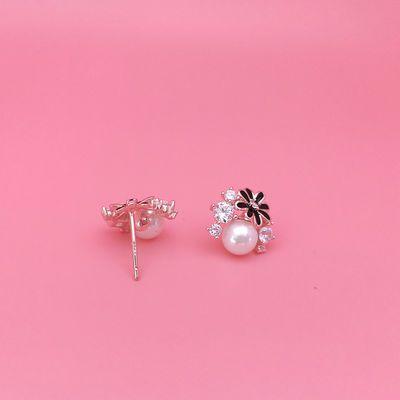 情人节生日礼物女925纯银镶钻黑色太阳花耳钉网红花朵珍珠耳饰品