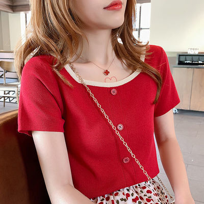 冰丝t恤女短袖针织衫2020新款春夏季修身显瘦上衣韩版学生打底衫