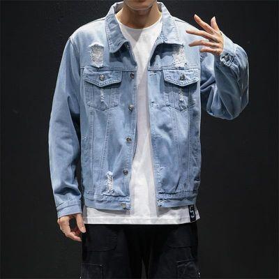 牛仔外套男潮牌春季新款韩版潮流休闲宽松长袖青年磨破牛仔衣夹克