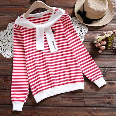 条纹短袖打底衫长袖T恤女宽松新款春夏装纯色大码女式打底衫上衣