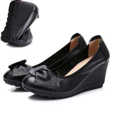 坡跟单鞋女真皮软底工作鞋女士高跟鞋皮鞋上班鞋春秋款浅口妈妈鞋
