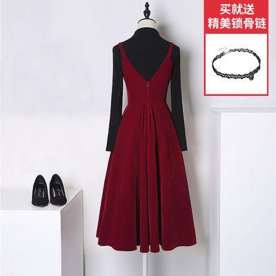 敬酒服新娘春新款平时可穿酒红色丝绒结婚晚礼服连衣裙女年会现代
