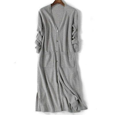 春装V领修身羊毛针织衫女士开衫过膝长款薄毛衣外套纯色韩版百搭