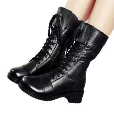 【真牛皮】真皮中筒马丁靴女短靴中跟秋冬款棉靴英伦皮靴粗跟军靴