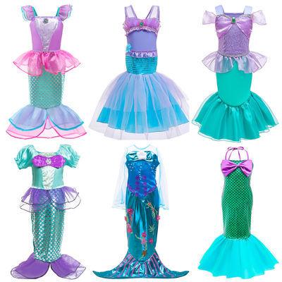 2020新款女童美人鱼连衣裙中大儿童沙滩裙吊牌洋气鱼鳞游泳衣套装
