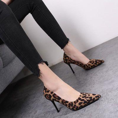 春夏季新款欧美豹纹尖头高跟鞋女装休闲女士百搭细跟浅口性感时尚