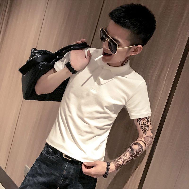 夏装社会人翻领短袖T恤男士韩版潮流修身纯色男装polo衫男潮t恤男