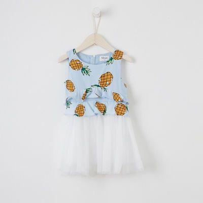 【夏装】吊牌价¥269女中童菠萝印花拼网纱连衣裙296902