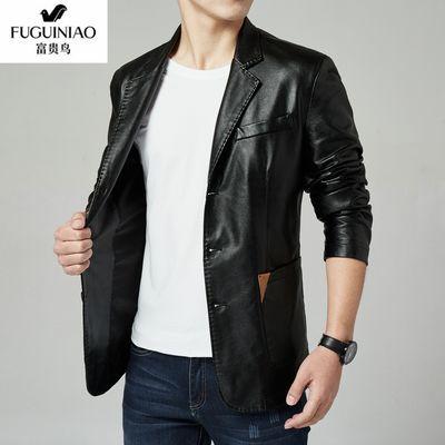 富贵鸟2020春秋新款男士皮衣休闲西装外套时尚夹克帅气
