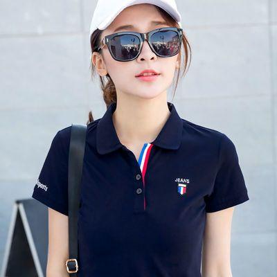 95棉 2020夏装绣花翻领T恤女短袖韩版运动衫上衣体恤宽松POLO衫女