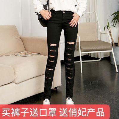 8990新款牛仔裤女黑色白色韩版显瘦破洞弹力紧身小脚裤乞丐长裤女