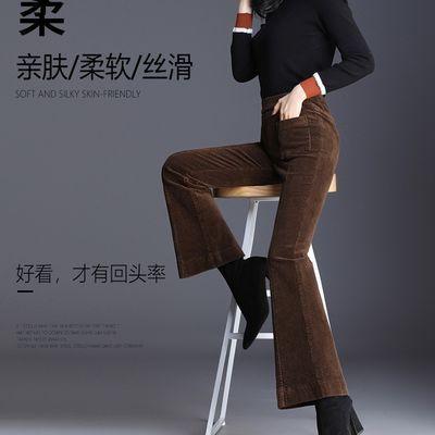 微喇叭裤女秋冬加绒加厚2019新款高腰显瘦垂感条绒鱼尾裤子