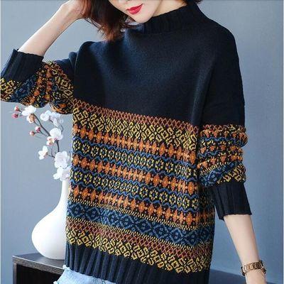半高领毛衣女士宽松外穿女装2019新款秋冬装洋气加厚时尚打底衫潮