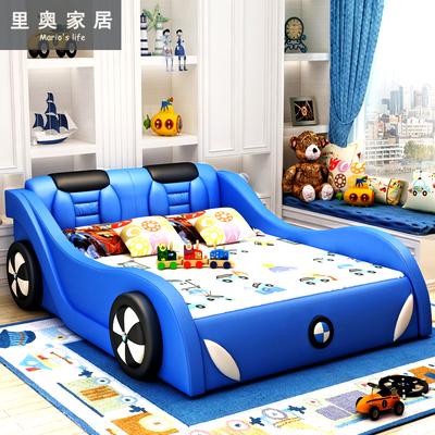 儿童床男孩 1.5米真皮床带护栏实木床1.2米创意卡通汽车1米单人床