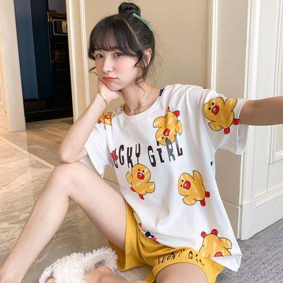 棉质睡衣女夏季短袖短裤套装睡衣女士夏天家居服学生韩版可爱宽松