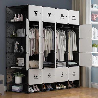 简易衣柜收纳架仿实木推拉门新款卧室家具挂衣架塑料钢管加粗加固