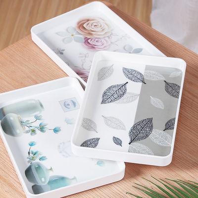 加厚长方形欧式密胺托盘现代简约水果盘塑料家用托盘水杯盘蛋茶盘