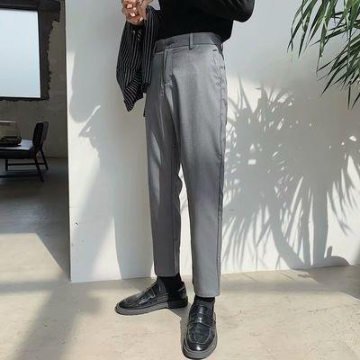 韩版休闲裤子男修身西裤直筒裤宽松九分裤百搭港风阔腿裤学生潮流