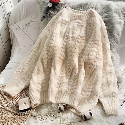 粗毛线圆领毛衣女学生套头宽松秋季新款韩版上衣慵懒风针织衫加厚