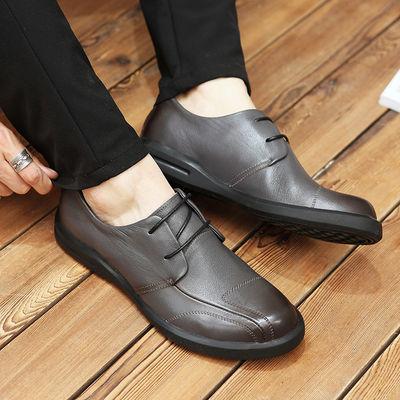 新品看乐男鞋新款真皮时尚商务休闲鞋软面皮男士休闲系带皮鞋