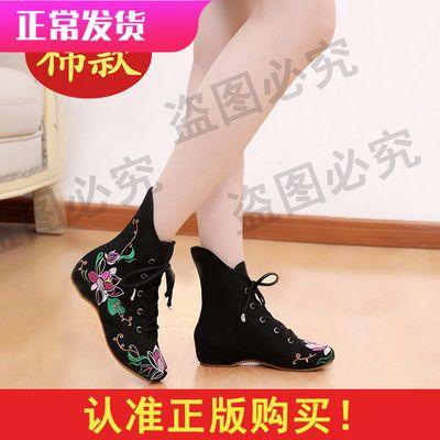 单款棉款老北京布鞋女古风绣花鞋民族风棉靴子内增高广场舞蹈单鞋