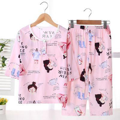 夏季儿童绵绸睡衣套装薄款男孩女童空调服卡通七分袖中大童家居服