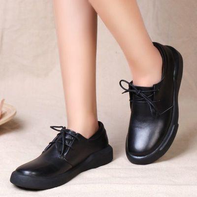 素面时尚韩版平跟真皮女单鞋头层牛皮大码手工大头系带皮鞋
