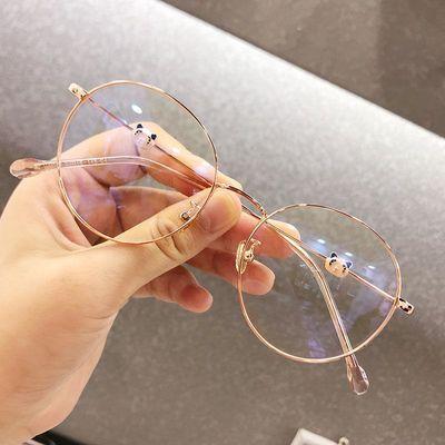 眼镜框女无度数女韩版学生圆脸近视眼镜防辐射蓝光熊猫款眼镜女潮