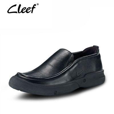 外贸男鞋欧美风爸爸鞋真皮软底防滑休闲一脚蹬宽脚皮鞋圆头套脚