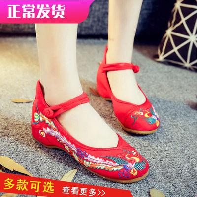 大码老北京布鞋女民族风绣花鞋低帮凤凰内增高休闲单鞋广场舞蹈鞋
