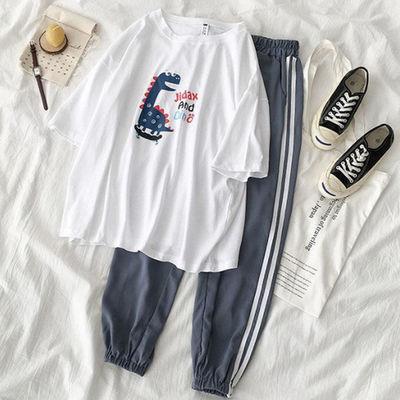 ins网红两件套装女夏季学生新款韩版短袖t恤上衣松紧腰休闲长裤子