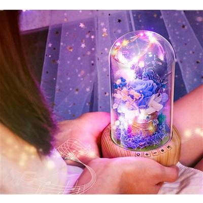 蓝色妖姬玫瑰永生花灯罩许愿瓶蓝牙音响七夕情人节女生生日礼物灯