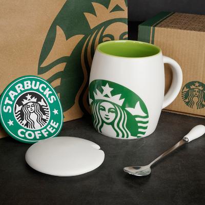 美式水杯马克杯女水杯女学生韩版陶瓷杯酒桶咖啡杯带盖勺家用茶杯