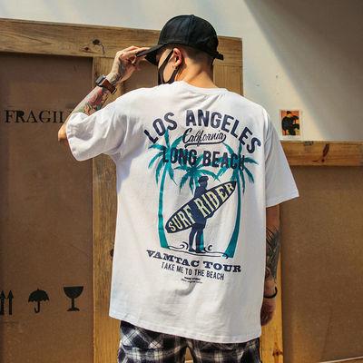 夏季新款短袖T恤男士潮牌嘻哈宽松半袖男装印花体恤ins学生打底衫