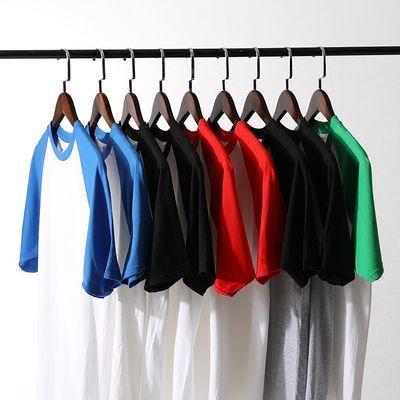 夏季撞色短袖T恤学生纯棉情侣tee插肩袖简约百搭上衣男潮拼接撞色