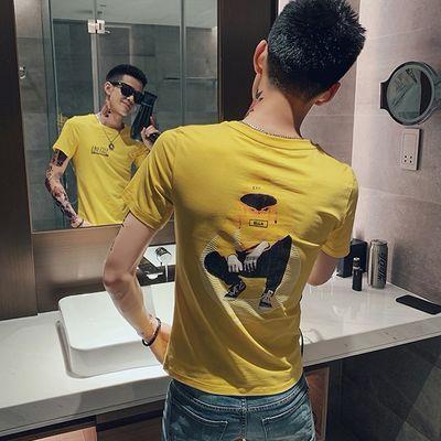 韩版修身社会精神小伙夏季短袖t恤潮流印花半袖体恤帅气网红衣服