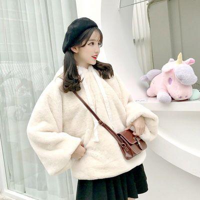 秋冬女装两件套宽松毛毛绒加厚连帽长袖套头卫衣百褶裙学生套装潮