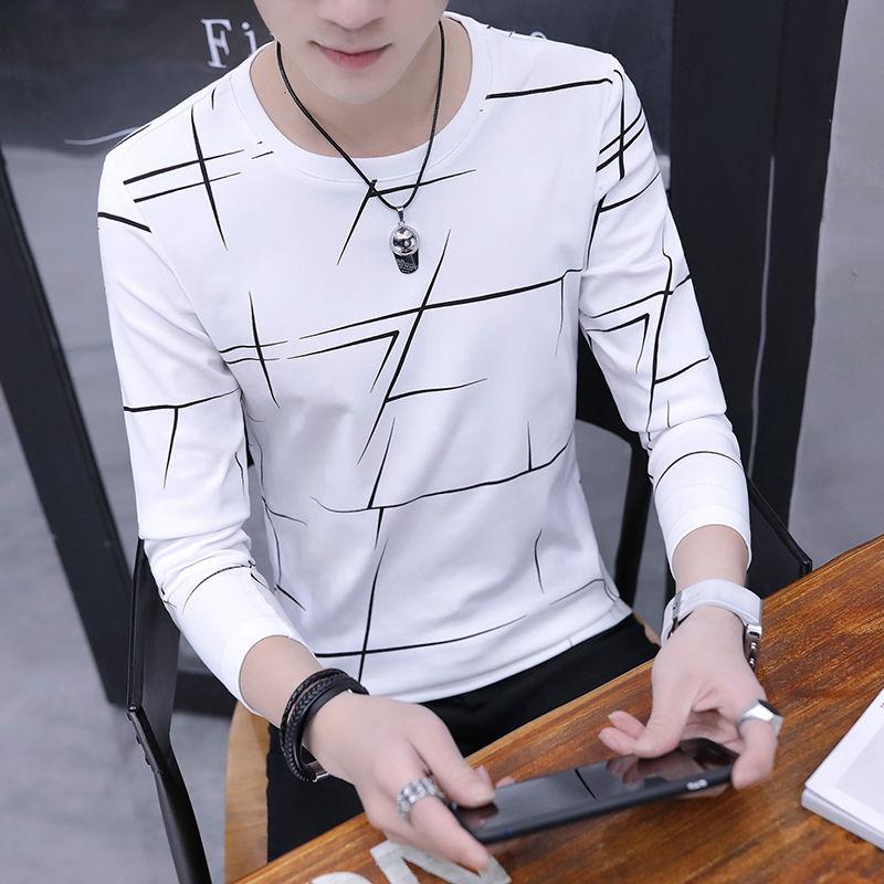2020夏季新款薄款男士t恤长袖圆领打底衫体恤男生韩版男装衣服
