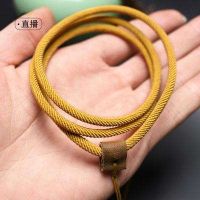 米兰吊坠绳天然牛皮挂绳项链绳子墨绿色黑色棕色男士女款玉佩绳子