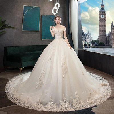 法式轻主婚纱女2020新款一字肩超仙奢华森系显瘦简约新娘结婚礼服
