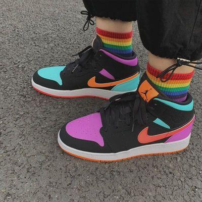 Nike耐克AJ 1女鞋AirJordan1糖果四色鸳鸯拼色篮球鞋女554725-083