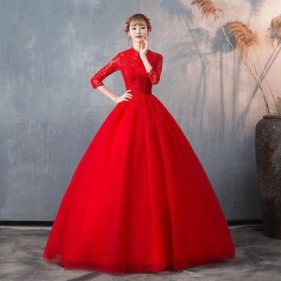 婚纱礼服女2020新款红色立领长袖新娘复古结婚蓬蓬裙显瘦齐地婚纱