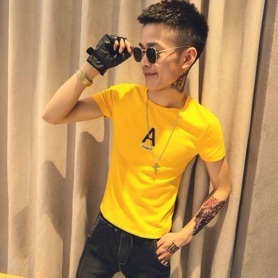 社会人韩版紧身网红短袖男T恤精神小伙丅恤潮流潮牌半袖小衫男
