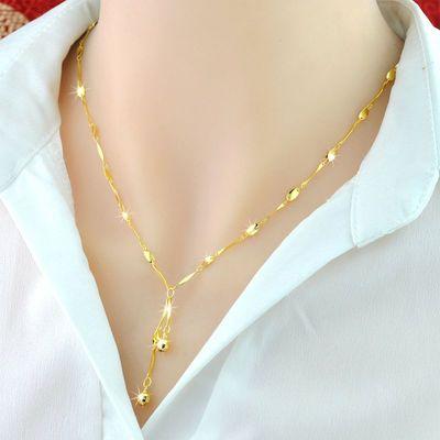 情人节礼物送女友银项链镀玫瑰金流苏黄金女款锁骨链饰品精美包装