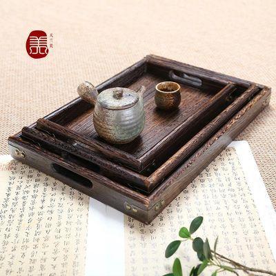 日式实木小号功夫茶盘 家用长方形简约果盘 大号木质餐盘托盘茶具